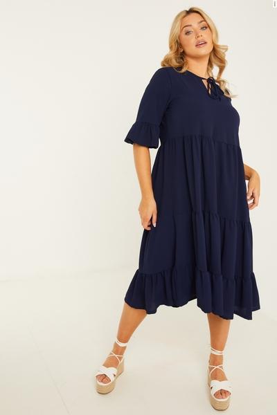 Curve Navy Smock Dress